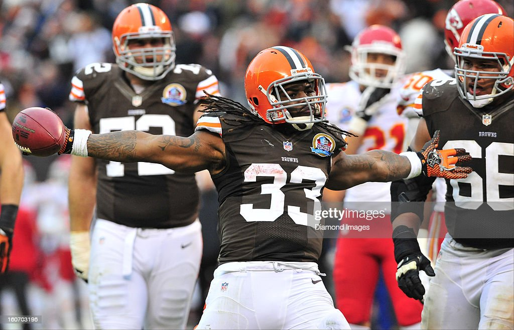 Running back Trent Richardson #33 of the Cleveland Browns celebrates after scoring a touchdown during a game with the Kansas City Chiefs at Cleveland Browns Stadium in Cleveland, Ohio. The Browns won 30-7.