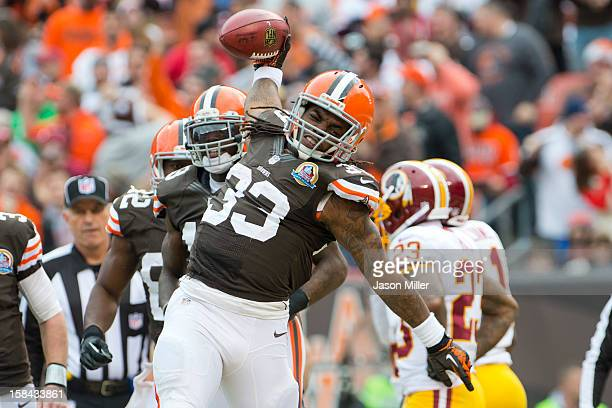 Running back Trent Richardson of the Cleveland Browns celebrates after scoring against the Washington Redskins during the first half at Cleveland...