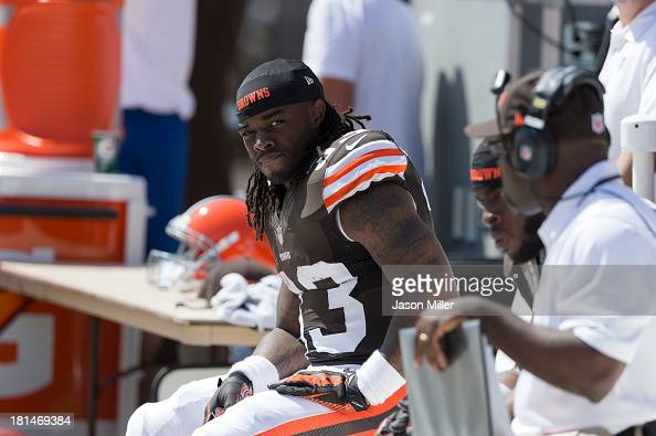 Running back Trent Richardson of the Cleveland Browns on the bench during the game against the Miami Dolphins at First Energy Stadium on September 8...