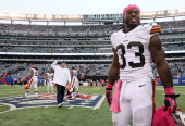 Running back Trent Richardson of the Cleveland Browns on the field after a game against the New York Giants at MetLife Stadium on October 7 2012 in...