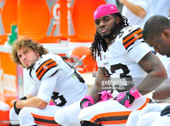 Running back Trent Richardson of the Cleveland Browns sits on the bench during a game with the Cincinnati Bengals at Cleveland Browns Stadium in...