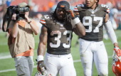 Running back Trent Richardson of the Cleveland Browns walks off the field after the game against the Miami Dolphins at First Energy Stadium on...