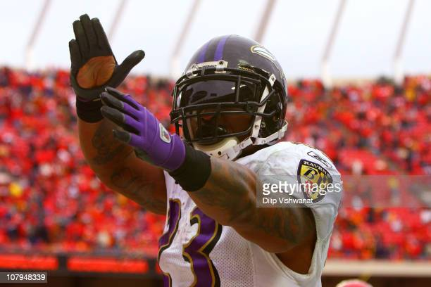 Running back Willis McGahee of the Baltimore Ravens celebrates after scoring a touchdown in the fourth quarter of the 2011 AFC wild card playoff game...