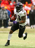 Running back Willis McGahee of the Baltimore Ravens runs down field in a game against the Kansas City Chiefs at Arrowhead Stadium on January 9 2011...