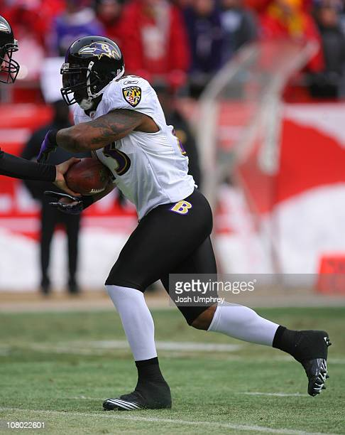 Running back Willis McGahee of the Baltimore Ravens takes the handoff in a game against the Kansas City Chiefs at Arrowhead Stadium on January 9 2011...