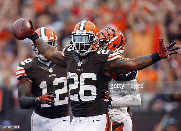 Running back Willis McGahee of the Cleveland Browns celebrates after a run against the Cincinnati Bengals at FirstEnergy Stadium on September 29 2013...