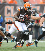 Running back Willis McGahee of the Cleveland Browns runs the football during a game against the Jacksonville Jaguars at FirstEnergy Stadium in...