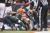 Running back Willis McGahee of the Cleveland Browns scores a touchdown during the first half against the Jacksonville Jaguars at FirstEnergy Stadium...