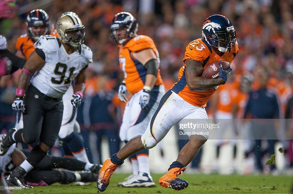 Running back Willis McGahee #23 of the Denver Broncos rushes during a game against the New Orleans Saints at Sports Authority Field Field at Mile High on October 28, 2012 in Denver, Colorado.