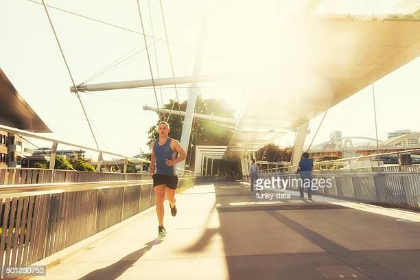 Running during sunset in Brisbane