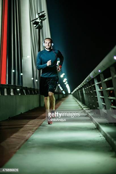 running fast late night outdoors