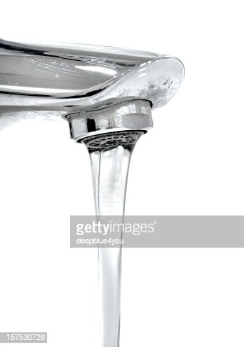 Running faucet isolated on white stock photo getty images - How to run plumbing collection ...