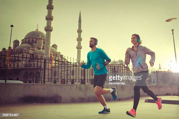 Running in Istanbul at sunset