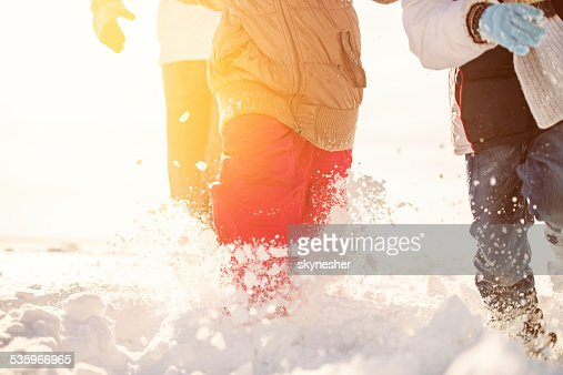 Running in snow. : Stock Photo