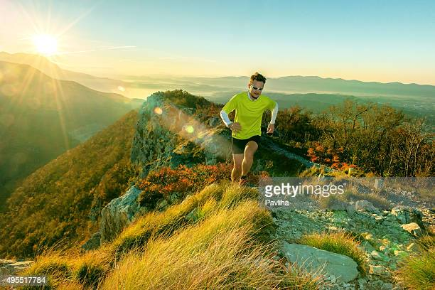 Running in the morning on the mountain, Primorska, Slovenia