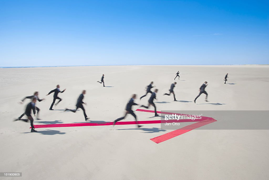 Running into the same direction : Stock Photo