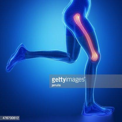 Col du fémur-running homme jambe scanner dans la zone bleue : Photo
