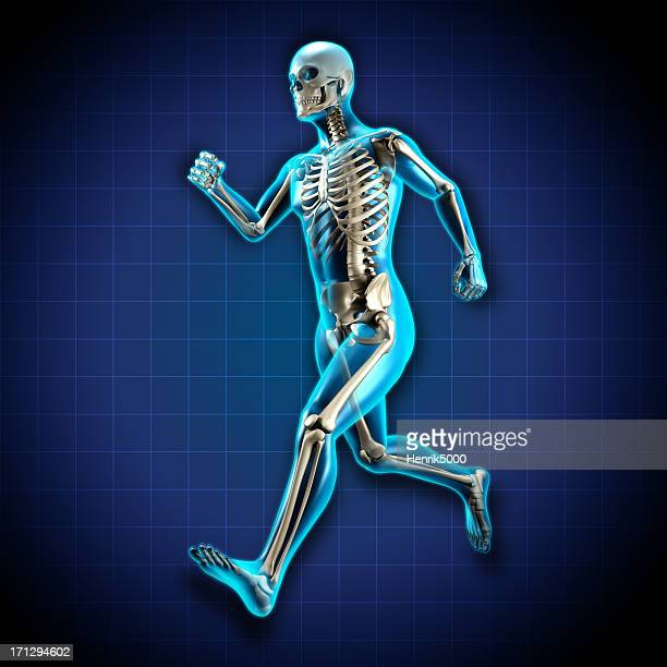 Running man x-ray with skeleton