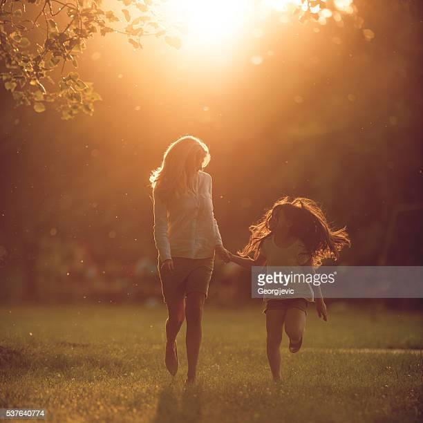 Course sur le coucher du soleil