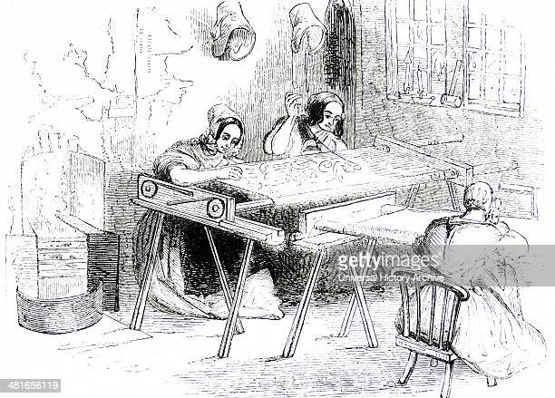 Running or embroidering bobbin net Nottingham England These women worked long hours at home for very low wages Engraving London 1843
