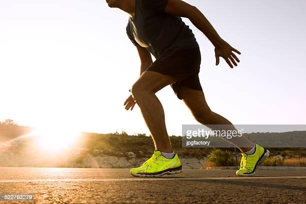 running outdoor on asphalt road