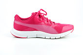 Running, pink, sport shoe for women on white background