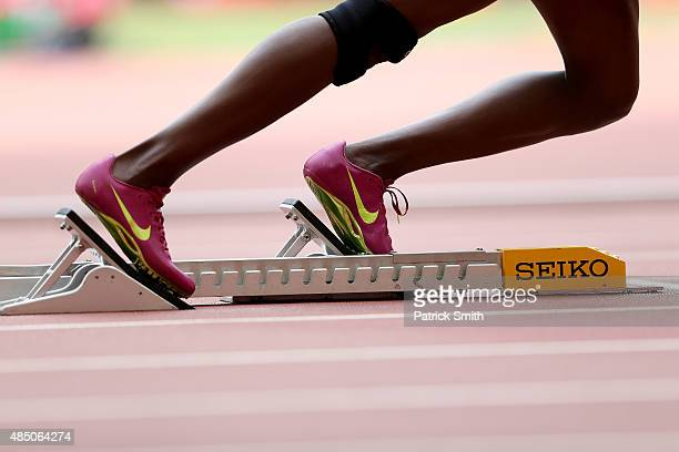 NIKE running shoes are seen duirng the Women's 400 metres heats during day three of the 15th IAAF World Athletics Championships Beijing 2015 at...