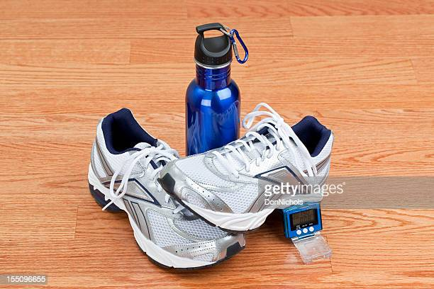 Running Shoes, Pedometer, and Water Bottle