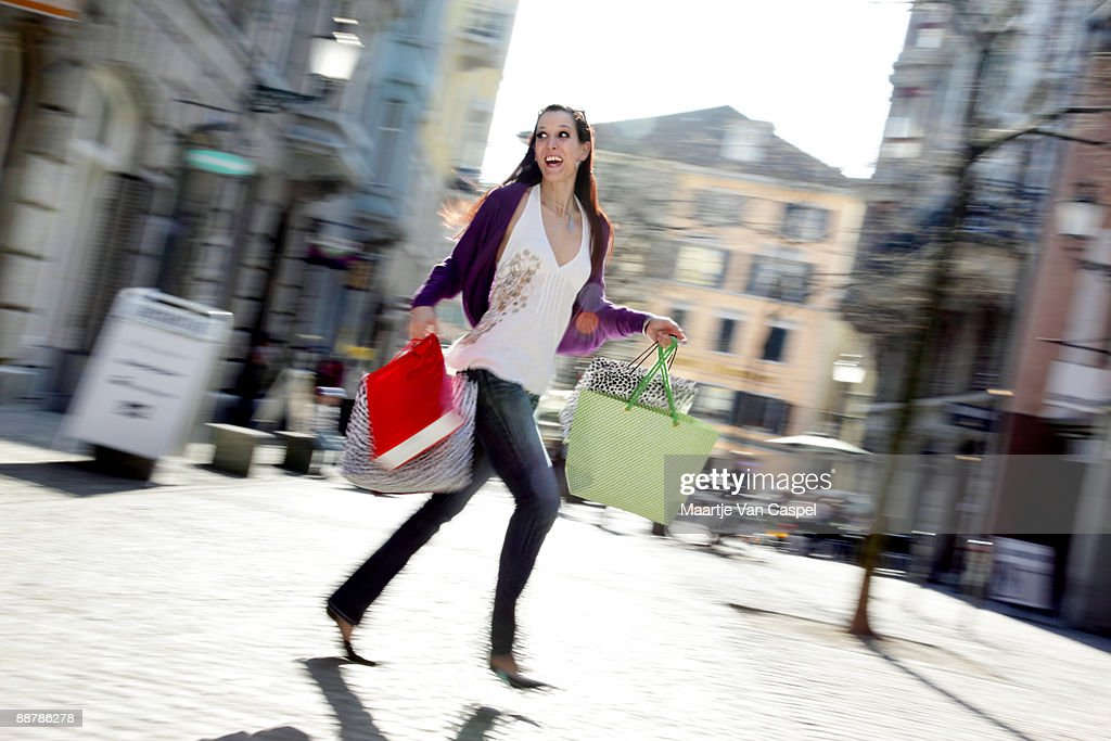 Running shopping Girl : Stock Photo