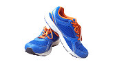 Blue with orange running sports shoes on white