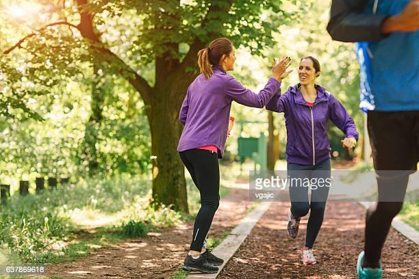 Running Team Motivating.