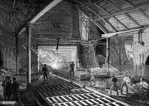 Running the molten iron into the pigs c1880 Iron foundry A print from Great Industries of Great Britain Volume I published by Cassell Petter and...