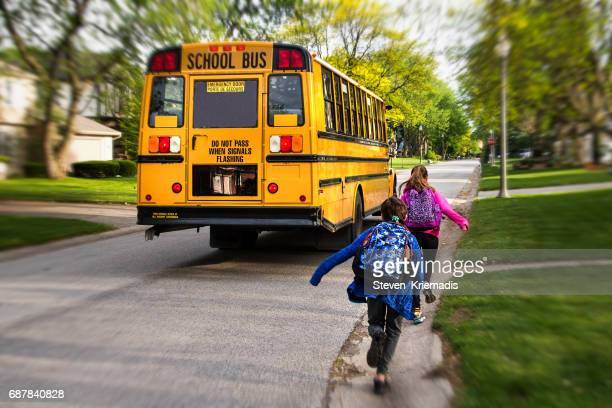 Running to Catch the School Bus