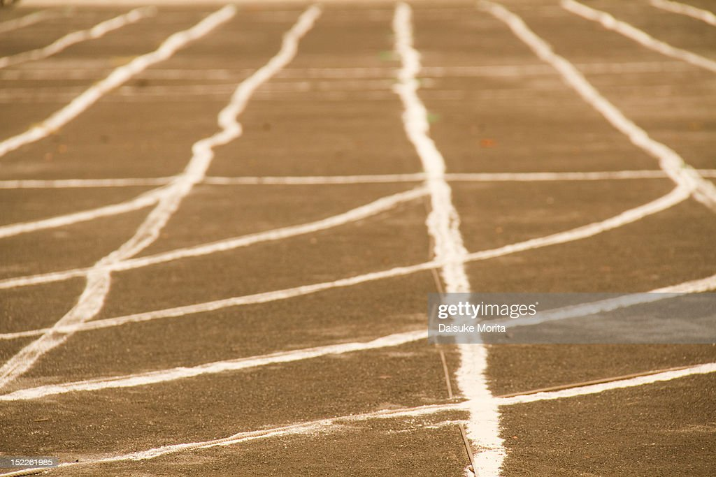 Running track at an athletic ground : Stock Photo