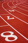 Photo of a running track for sports events like sprinting, marathon, track and field, etc.