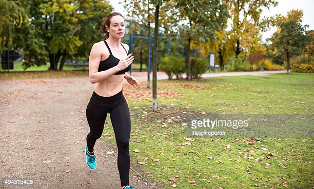 Running woman in the park