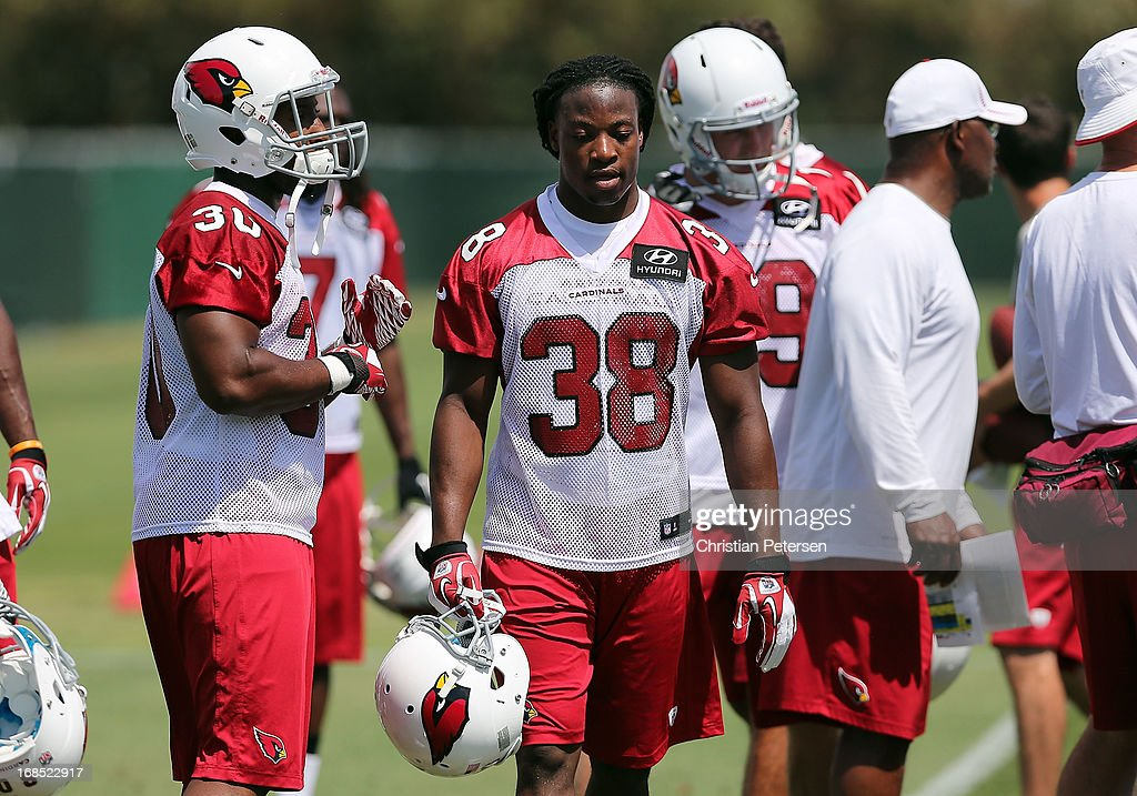 Runningback Andre Ellington #38 of the Arizona Cardinals practices at the team's training center facility on May 10, 2013 in Tempe, Arizona.