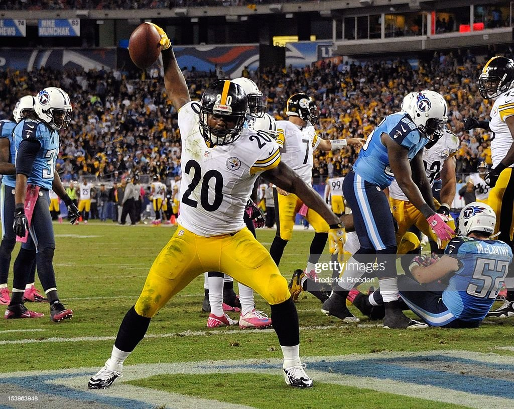 Runningback <a gi-track='captionPersonalityLinkClicked' href=/galleries/search?phrase=Baron+Batch&family=editorial&specificpeople=5553281 ng-click='$event.stopPropagation()'>Baron Batch</a> #20 of the Pittsburgh Steelers spikes the ball after scoring a touchdown against the Tennessee Titans at LP Field on October 11, 2012 in Nashville, Tennessee.