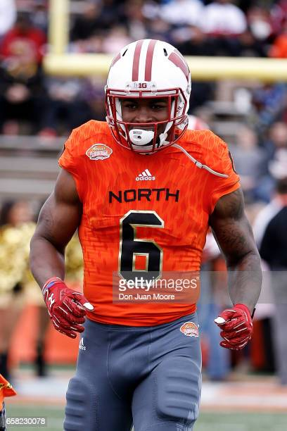 Runningback Corey Clement from Wisconsin of the North Team during the 2017 Resse's Senior Bowl at LaddPeebles Stadium on January 28 2017 in Mobile...