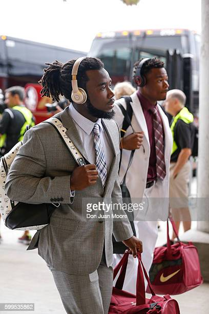 Runningback Dalvin Cook and Safety Derwin James of the Florida State Seminoles arriving to the game before playing the Ole Miss Rebels at Camping...