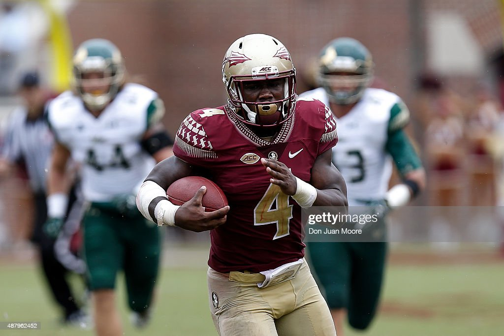 Runningback Dalvin Cook of the Florida State Seminoles on a running play during the game against the South Florida Bulls at Doak Campbell Stadium on...
