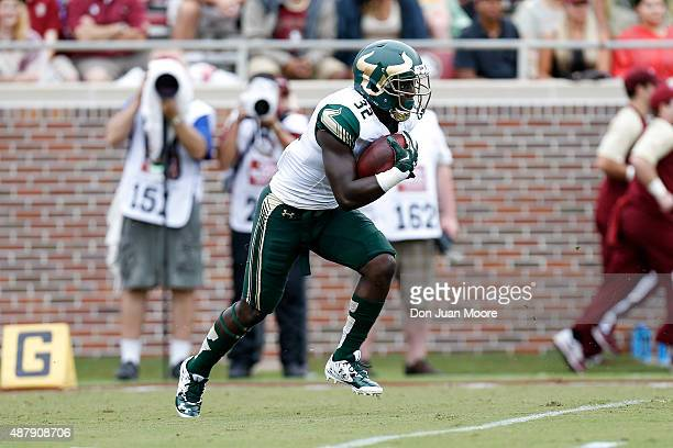 Runningback D'Ernest Johnson of the South Florida Bulls on a kick return run during the game against the Florida State Seminoles at Doak Campbell...