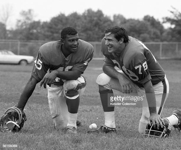 Runningback Homer Jones and of the New York Giants take a breather from workouts in August 1969 during training camp in upstate New York