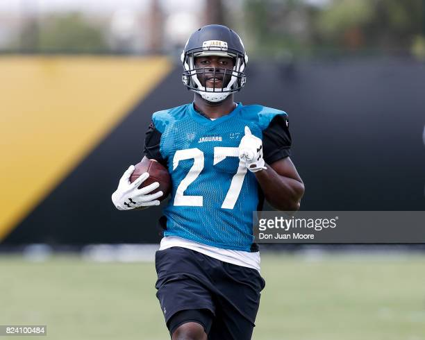 Runningback Leonard Fournette of the Jacksonville Jaguars works out during Training Camp at Florida Blue Health and Wellness Practice Fields on July...