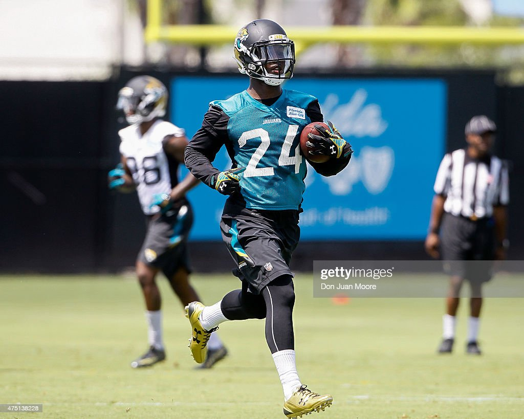 Runningback <a gi-track='captionPersonalityLinkClicked' href=/galleries/search?phrase=T.J.+Yeldon&family=editorial&specificpeople=9688955 ng-click='$event.stopPropagation()'>T.J. Yeldon</a> #24 of the Jacksonville Jaguars works out during OTA's at Everbank Field Stadium at the Florida Blue Health and Wellness Practice Fields on May 27, 2015 in Jacksonville, Florida.