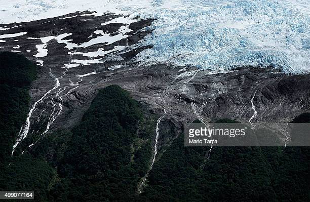 Runoff cascades from the edge of Heim glacier in Los Glaciares National Park part of the Southern Patagonian Ice Field the third largest ice field in...