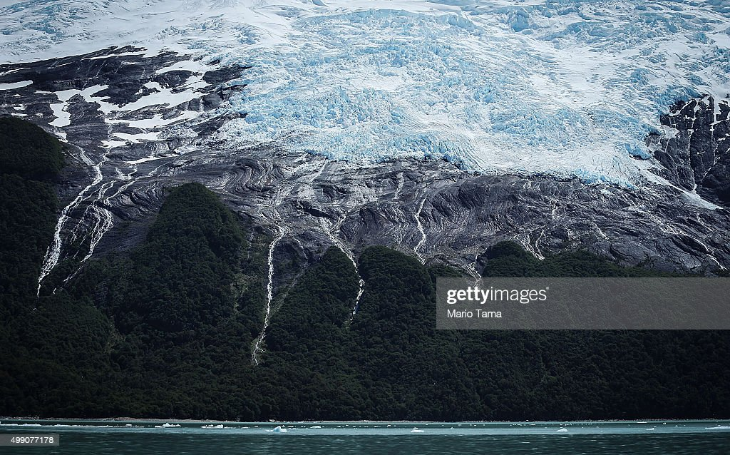 Runoff cascades from the edge of Heim glacier in Los Glaciares National Park, part of the Southern Patagonian Ice Field, the third largest ice field in the world, on November 28, 2015 in Santa Cruz Province, Argentina. The majority of the almost fifty large glaciers in the park have been retreating over the past fifty years due to warming temperatures, according to the European Space Agency (ESA). The United States Geological Survey reports that over 68 percent of the world's freshwater supplies are locked in icecaps and glaciers. The United Nations climate change conference begins November 30 in Paris.