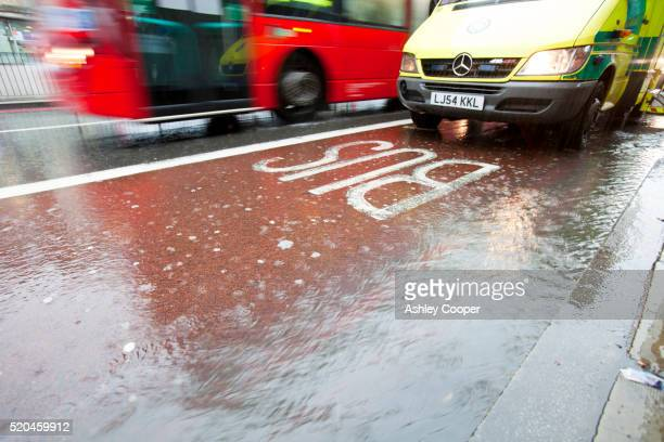 Runoff from a torrential downpour on the streets of Kings Cross, London, UK.