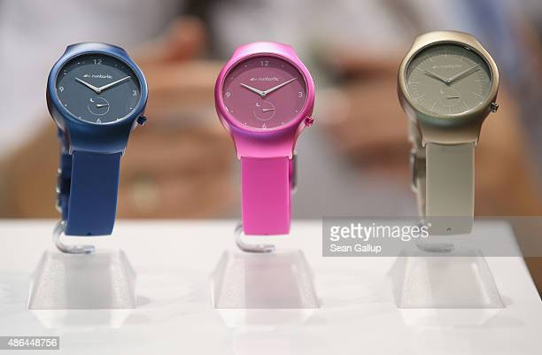 Runtastic Moment health smartwatches lie on display at the Runtastic stand at the 2015 IFA consumer electronics and appliances trade fair on...