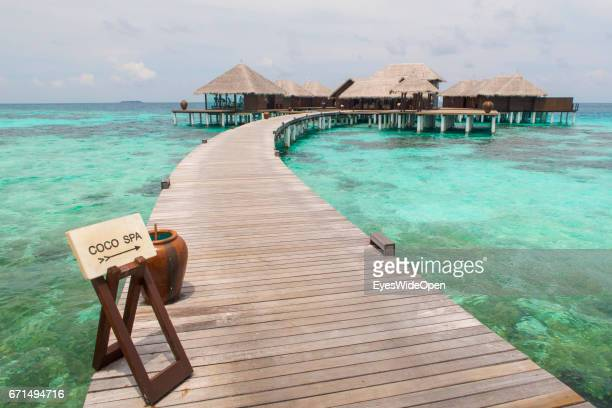 Runway and a Sign to The Spa and Water Villas at Coco Bodu Hiti NorthMaleAtoll on February 26 2017 in Male Maldives